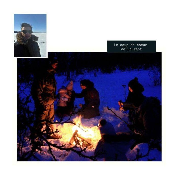 Le coup de coeur de Laurent : un feu de camp dans les Alpes de Lyngen. Photo : Laurent de Nord Espaces