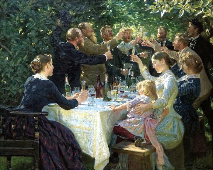 Hip, Hip, Hurrah ! de Peder Severin Krøyer (1888) représente divers artistes de l'école de Skagen