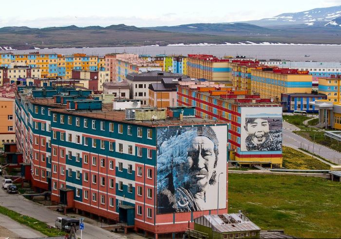 Vue d'Anadyr, capitale du district russe de Tchoukotka