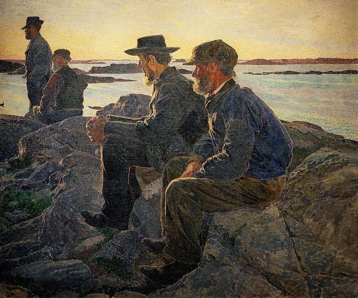 Carl Wilhelmson, Pêcheurs sur les rochers à Fiskebäckskil, 1905-1906