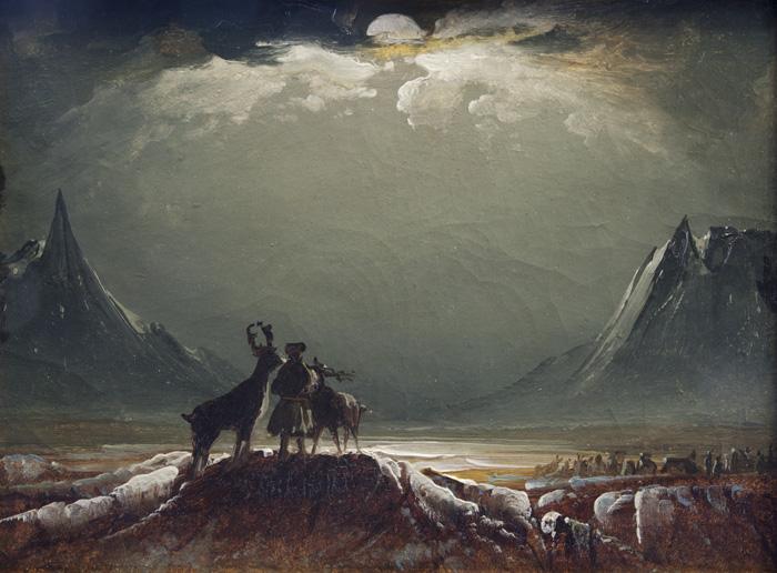 Peder Balke, Sâme avec rennes sous le soleil de minuit, 1850