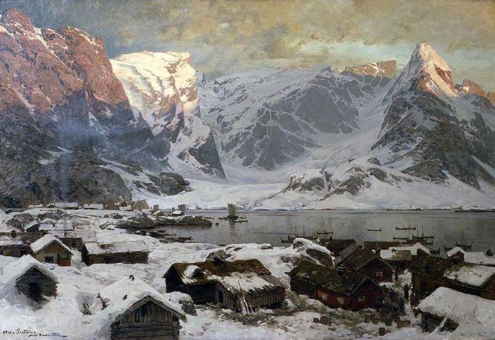 Otto Sinding, Vue de Reine, Lofoten, 1883