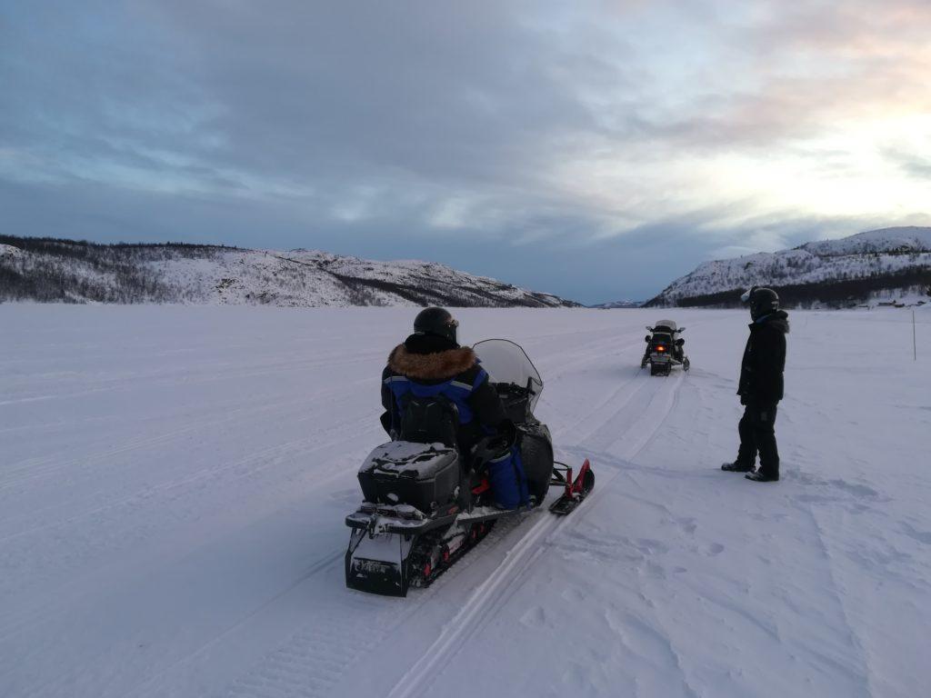 Sortie motoneige en Norvège, Léa et Alain B., février 2020