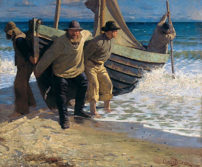 Mise à l'eau du bateau, Oscar Björck, 1884