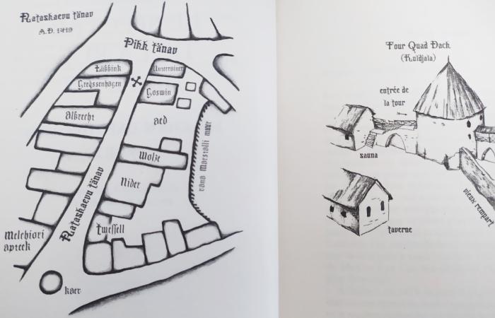 La rue du Puits en 1419 et la cour du couvent des sœurs, plans extraits de Le Spectre de la Rue du Puits, Indrek Hargla, Gaïa Editions, 2014