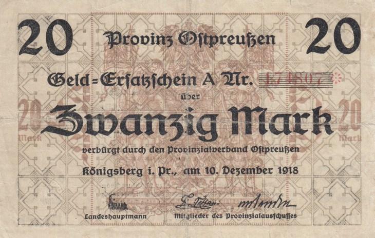 Billet de 20 Marks, 1918
