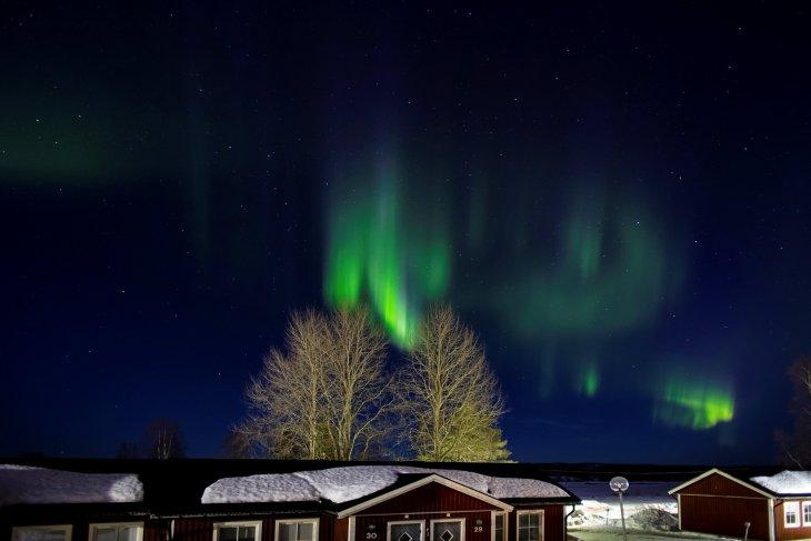Aurore boréale à Aavasaksa, Suède