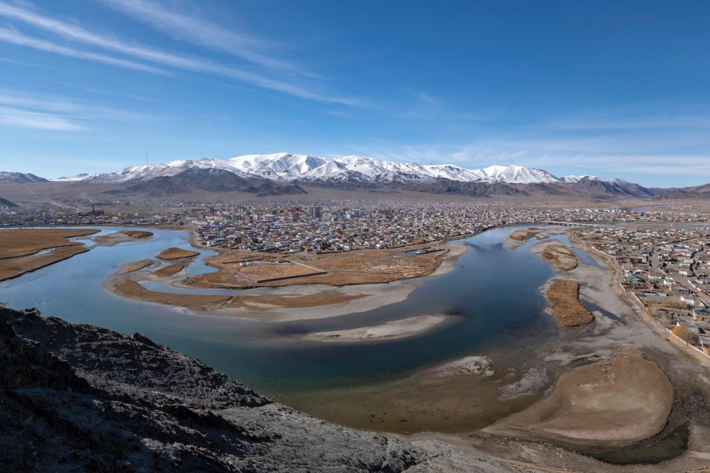 La ville à la montagne en Mongolie