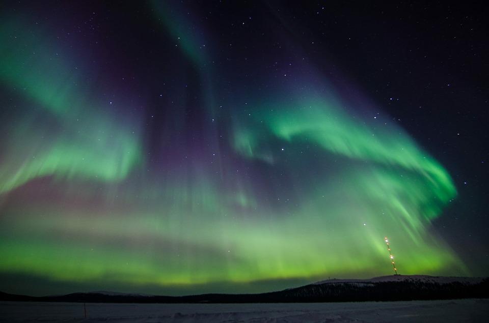 Aurores boréales en automne en Laponie