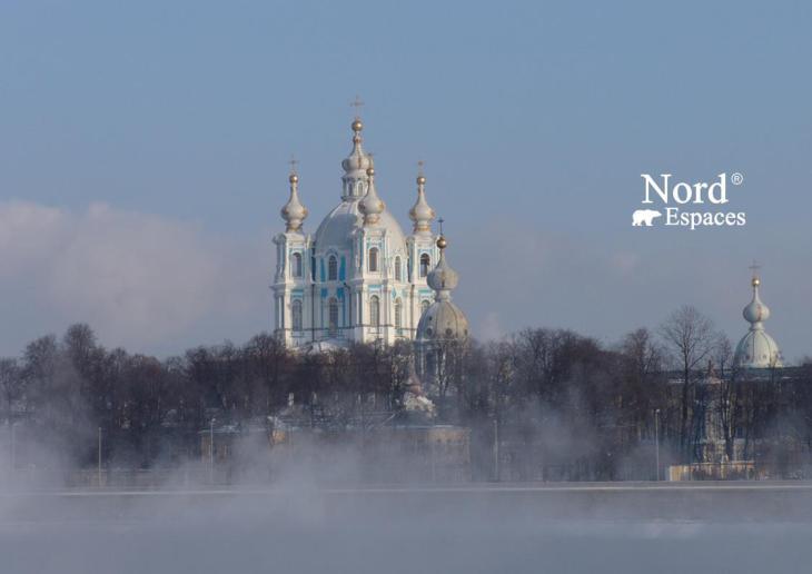 Magnifique cathédrale Smolny à St.Pétersbourg en hiver