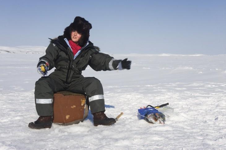 Pêché d'hiver ou pêche blanche en Sibérie