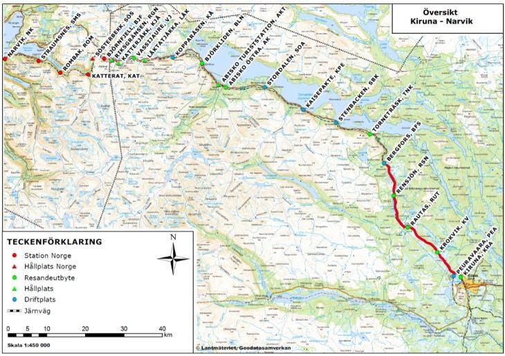 Ligne ferroviaire Kiruna (Suède) - Narvik (Norvège)